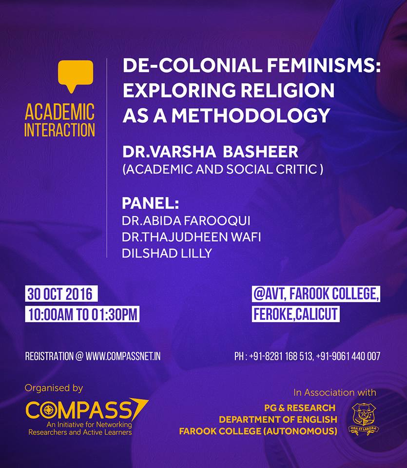 Decolonial Feminism Exploring Religion as methodolgy 30 th october 2016